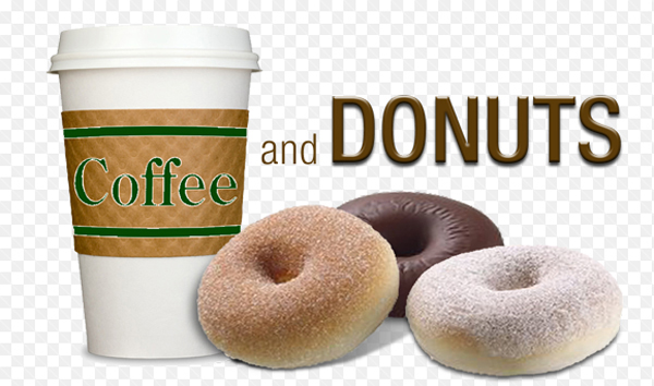 Photo of coffee and donuts.