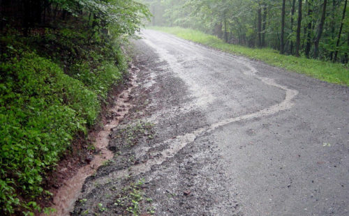 Photo of stormwater on a dirt road.