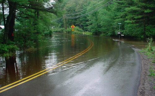 A flooded road in Pike County