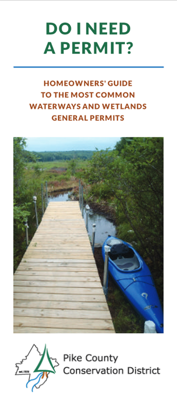 Front cover of the PACD-funded brochure Homeowners' Guide to the Most Common Waterways and Wetlands General Permits.