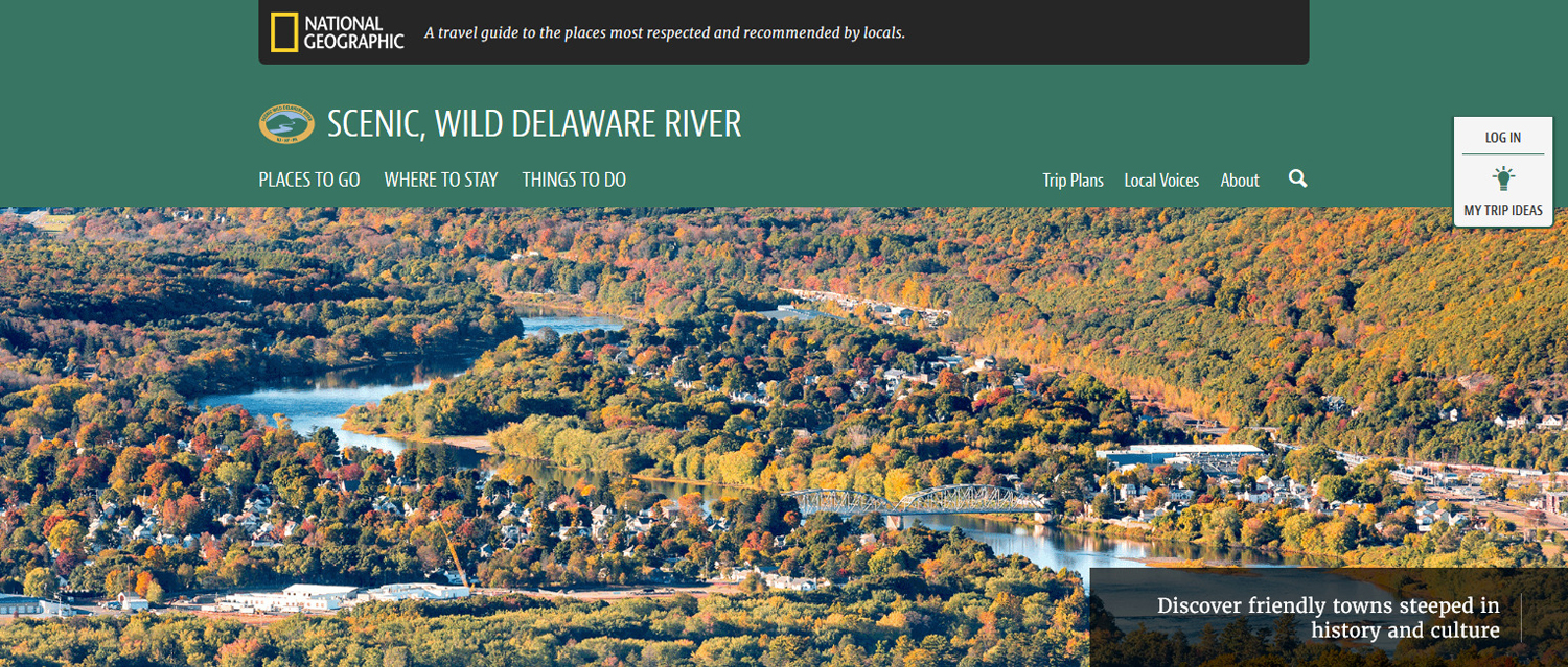 Photo of the Scenic, Wild Delaware River Travel Planning Mapguide website.