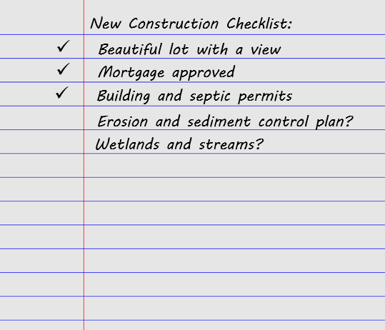 An illustration of a new construction checklist, with Erosion and sediment control plant unchecked