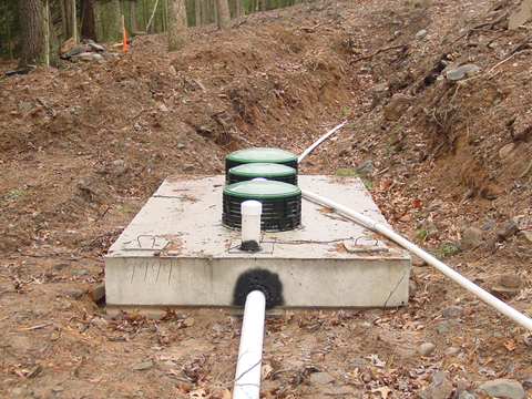 Photo of an on-lot septic system being installed.